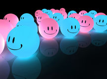 Blue glowing smileys Stock Photo