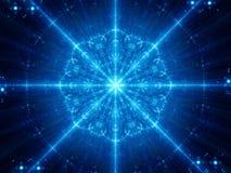Blue glowing snowflake shape mandala fractal Royalty Free Stock Photography