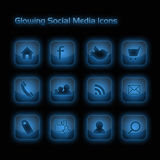 Blue Glowing Social Media Icons Stock Images