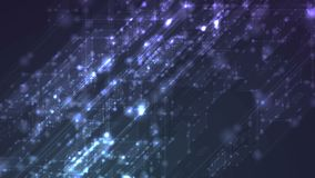 Blue glowing sparkling tech geometric video animation stock video