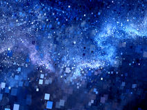 Blue glowing square shape particles in space Royalty Free Stock Image