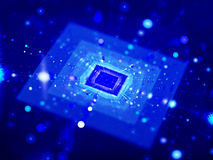 Blue glowing squares in cyberspace with particles Royalty Free Stock Photography