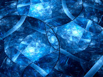 Blue glowing stained-glass fractal Stock Photo
