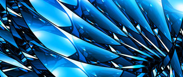 Blue glowing stained glass 8k widescreen background. Blue glowing stained glass, computer generated abstract background, 3D rendering Stock Illustration