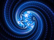 Blue glowing stained glass spiral fractal Stock Images