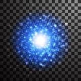 Blue glowing star light glitter effect. Magic glow sparkling tex Royalty Free Stock Image