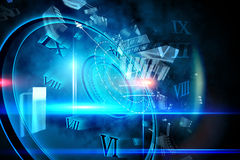 Blue glowing technology design with clock Stock Photos