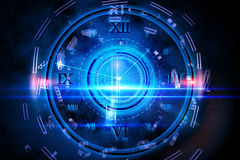Blue glowing technology design with clock Royalty Free Stock Photography