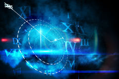 Blue glowing technology design with clock Stock Image