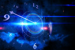 Blue glowing technology design with clock Stock Photo