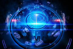 Blue glowing technology design Stock Photo