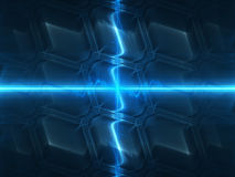 Blue glowing technology with glowing beams Stock Images