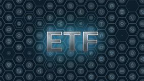 Blue glowing text on bitcoin and alt coins background. SEC delays decision approving ETF fund causing crypto market stumble down stock illustration