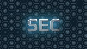Blue glowing text on bitcoin and alt coins hexagon symbol background. SEC delays decision approving ETF fund causing crypto market stumble down stock illustration