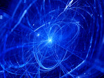 Blue glowing trajectories in space Stock Image