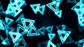 Blue glowing triangles animation background stock video