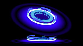 Blue glowing wheels, 3d illustration Royalty Free Stock Images