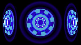 Blue glowing wheels, 3d illustration. Computer-generated image on abstract theme Stock Photo