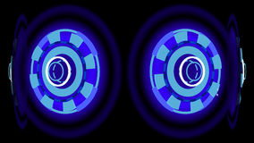 Blue glowing wheels, 3d illustration. Computer-generated image on abstract theme Stock Photography