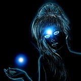 Blue glowing woman Stock Photo
