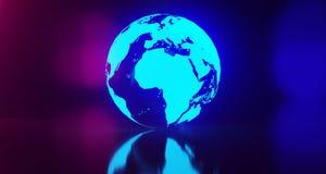Blue Glowing World Globe Map On Blurry Background.3D Rendering. Blue Glowing World Globe Map On Blurry Colored Background.3D Rendering Stock Images