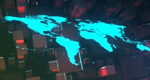 Blue Glowing World Map On Cubes Background.3D Rendering. Blue Glowing World Map On Abstract Cubes Background.3D Rendering stock illustration