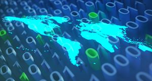 Blue Glowing World Map On Binary Background.3D Rendering. Blue Glowing World Map On Binary Blue And Green Background.3D Rendering Royalty Free Stock Image