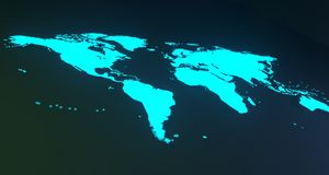 Blue Glowing World Map On Blurry Background.3D Rendering. Blue Glowing World Map On Soft Background.3D Rendering Royalty Free Stock Images