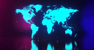 Blue Glowing World Map On Blurry Background.3D Rendering. Blue Glowing World Map On Blurry Background With Floor Reflection.3D Rendering Stock Images