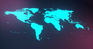 Blue Glowing World Map On  Blurry Background.3D Rendering. Blue Glowing World Map On Colorful Blurry Background.3D Rendering Stock Photography