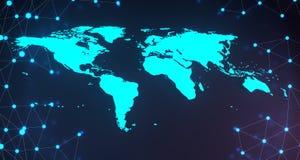 Blue Glowing World Map On Plexus Background.3D Rendering. Blue Glowing World Map On Glowing Plexus Background.3D Rendering Stock Photo