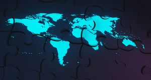 Blue Glowing World Map On Puzzle Background.3D Rendering. Blue Glowing World Map Projected On Puzzle Background.3D Rendering Stock Images
