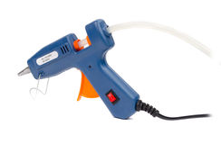 Blue glue gun on a white background. Stock Images