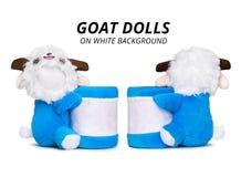Blue goat dolls isolated on white background. Pencil holders stock illustration