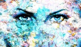 Blue goddess women eye, multicolor background. eye Royalty Free Stock Images