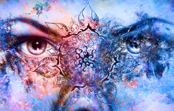Blue goddess women eye, multicolor background with Stock Photography