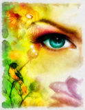 Blue goddness women eye with birds on multicolor aquarel background. eye contact. Royalty Free Stock Images
