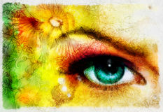 Blue godness women eye with birds on multicolo. Royalty Free Stock Photos