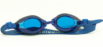 Blue goggles. A pair of tight-fitting blue eyeglasses isolated on white background Stock Photos