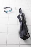 Blue goggles black suit Stock Photos