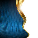 Blue and gold abstract background. Abstract background design with blue honeycombs and gold wavy line Stock Images