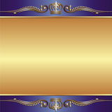 Blue gold background. With ornaments Royalty Free Stock Photos