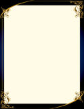 Blue gold background with frame. A blue background with and elegant blank frame design Stock Photography