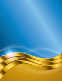 Blue Gold Background. An illustration of an golden blue wavy abstract background Royalty Free Stock Image