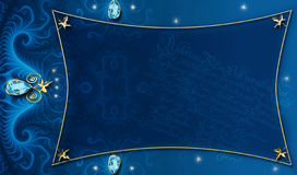 Blue-Gold Background Layout. Blue-gold background frame made in Photoshop using my own fractals, textures, images and PS  brushes. A unique background for a Stock Photo