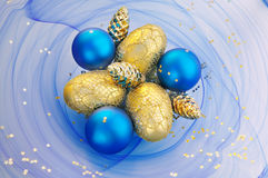Blue and Gold Christmas Royalty Free Stock Images