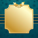 Blue and gold christmas. Blue snowflake background with gold plaque ready for text Royalty Free Stock Photography