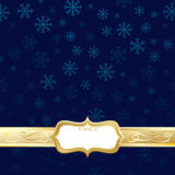 Blue and gold christmas. Blue snowflake background with gold banner and frame ready for text Stock Photos