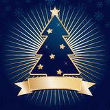 Blue and gold christmas. Blue christmas background with tree and gold banner ready for text Stock Photo