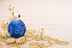 Blue and gold christmas balls Stock Image